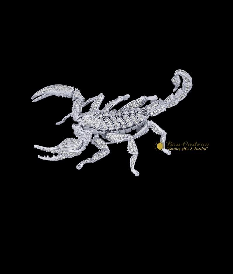 Брошь Скорпион (белое золото, бриллинаты)
