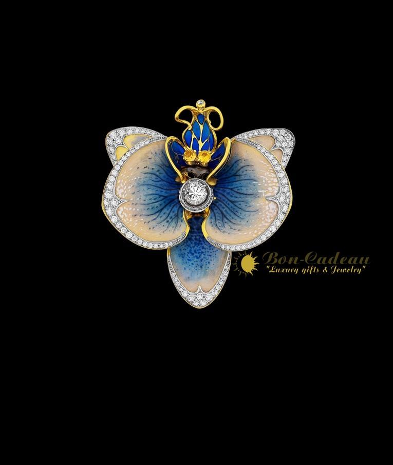 Кольцо «Голубая орхидея» (золото, эмаль, бриллианты)