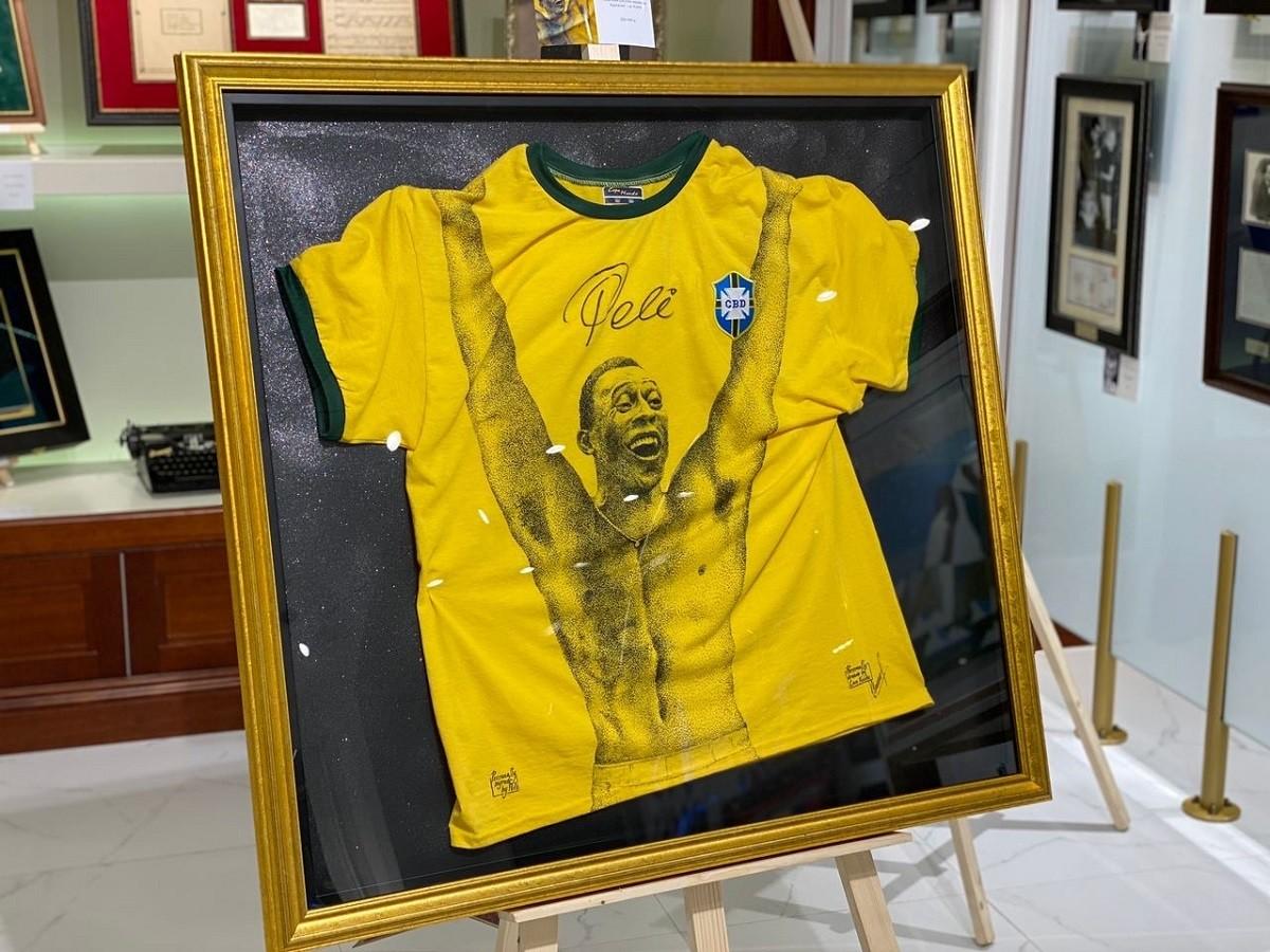 Автограф Пеле (ретро-футболка с рисунком художника Lan Kushe)
