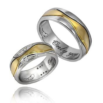 Парные кольца из белого и желтого золота