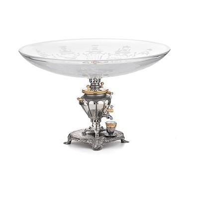 Блюдо «Парад самоваров» (хрусталь, серебро)