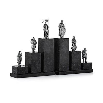 Книжные упоры «Богатыри» (гранит, серебро)