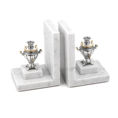 Книжные упоры «Два самовара» (мрамор, серебро)