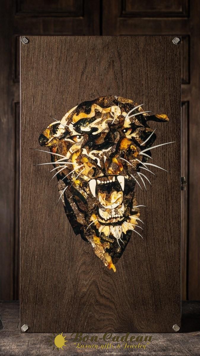 Нарды Черная пантера (дуб, янтарь)