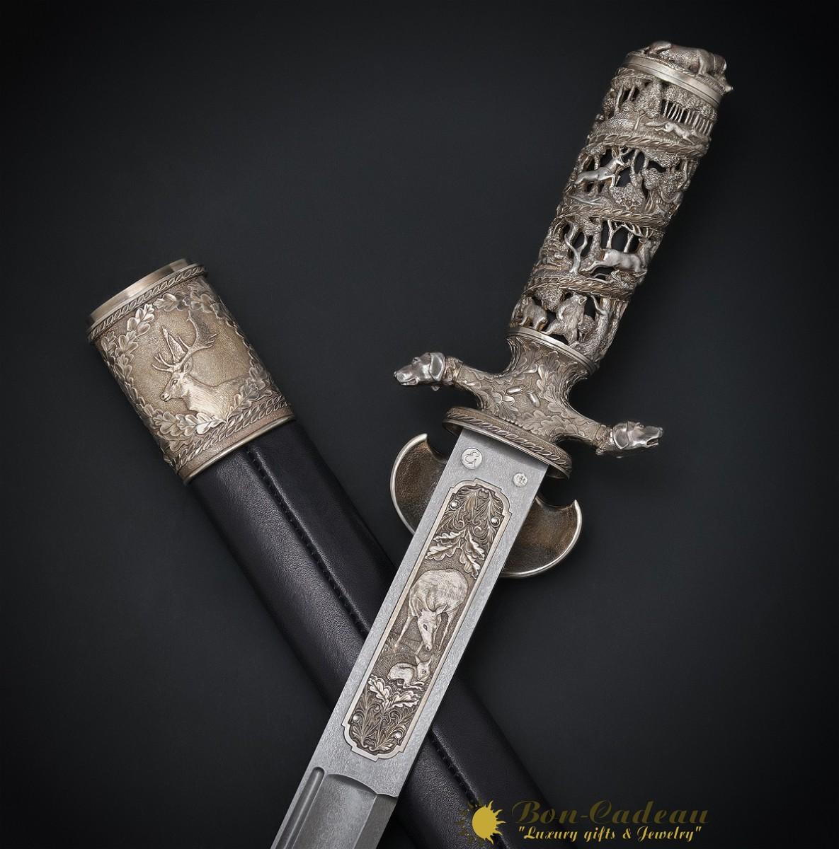 Кинжал Парфорсная охота (булат, серебро, зуб оленя)