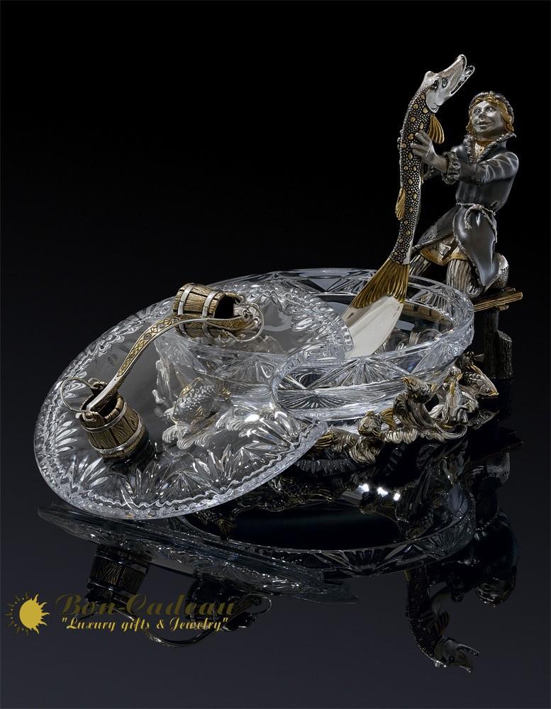 Икорница из хрусталя с золотом Емеля