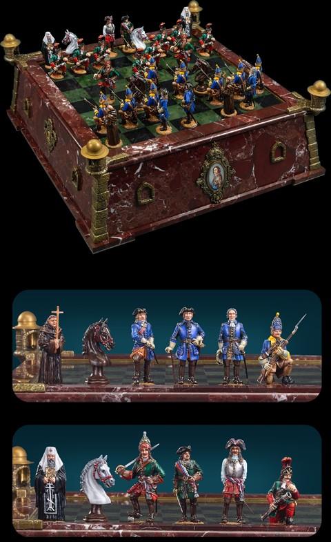 Шахматы Петр-I vs Карл-XII (олово, мрамор, бронза)