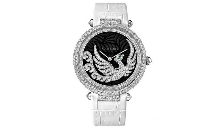 Cartier Bestiaire Evol D'un Phoenix Dark Purple Mother of Pearl with Diamonds Feather Dial Ladies' Watch