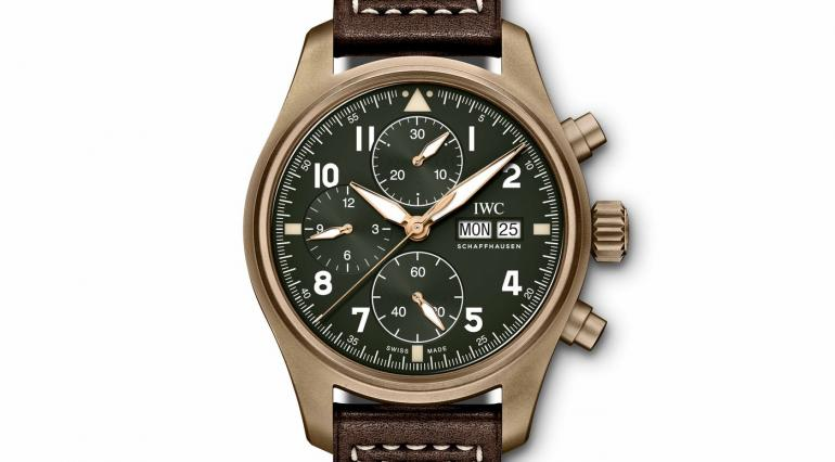 IWC's-Pilot's-Watch-Chronograph-Spitfire-in-bronze-with-an-olive-green-dial